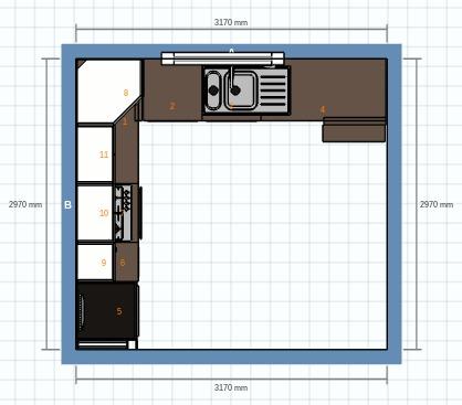 Plan view of kitchen