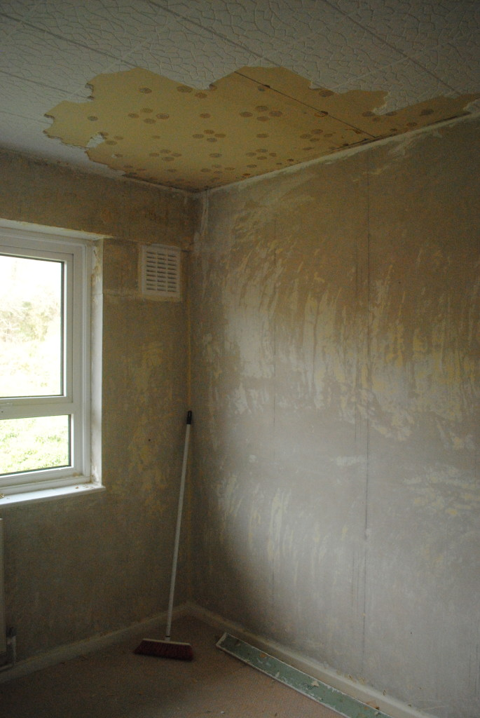 Bedroom wallpaper stripping