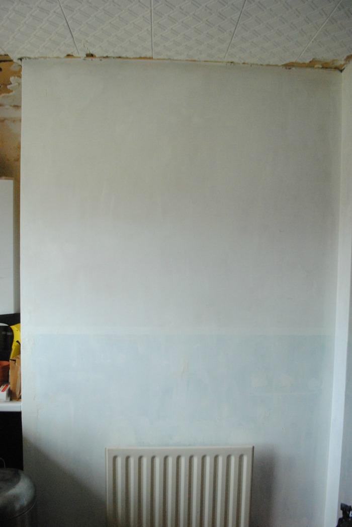 Primed kitchen wall