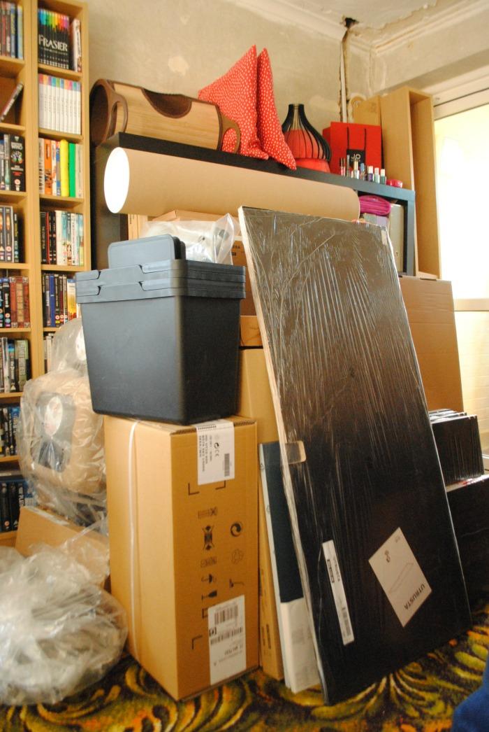 IKEA kitchen boxes stacked